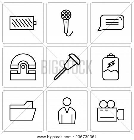 Set Of 9 Simple Editable Icons Such As Video Camera, Male Avatar, File Folder, Battery Charging, Pus