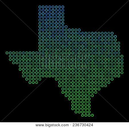 Dotted Gradient Texas Map. Vector Territorial Map In Green And Blue Gradiented Color Tones On A Blac