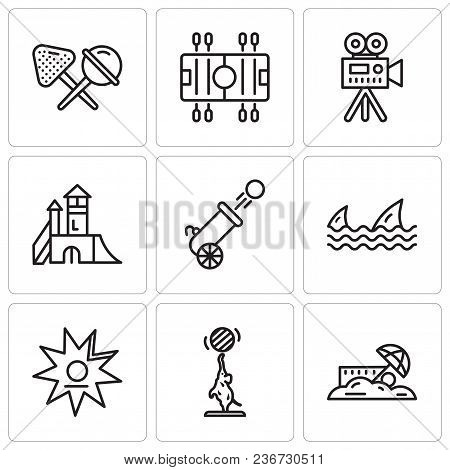 Set Of 9 Simple Editable Icons Such As Sand, Elephant, Walk Of Fame, Sharks, Cannon, Playground, Vid