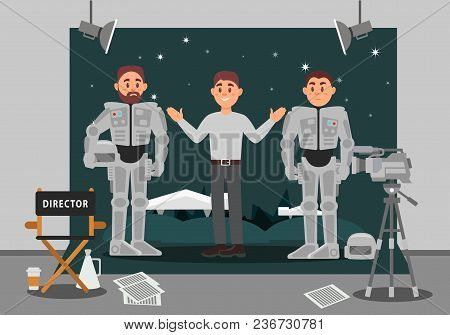 Director And Actor Working On The Film, Entertainment Industry, Movie Making Vector Illustration, We