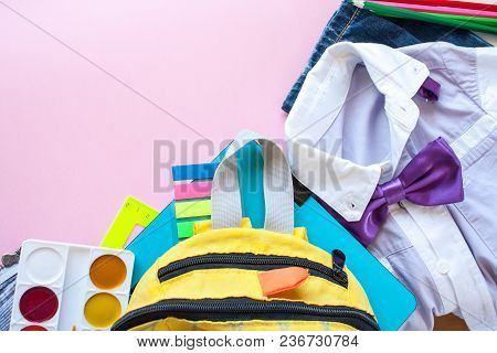 School Fees, Colorful Pencils Scissors On Pink Background, Space For Text, Flat Lay, Back To School