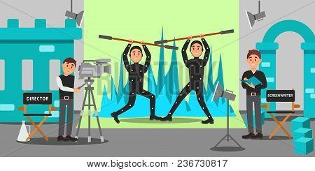 Director, Screenwriter And Actors Working On The Film, Entertainment Industry, Movie Making Vector I
