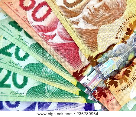 Montreal, Canada - March 10, 2018: Canadian Bank Notes, 20 And 50 Dollars.