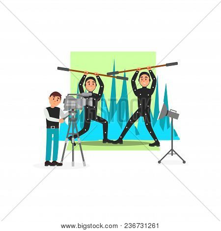 Movie Operator And Actors, Entertainment Industry, Movie Making Vector Illustration, Web Design