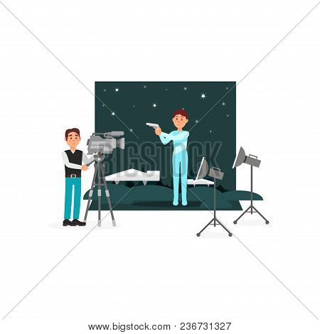 Cameraman And Actor Working On The Fantastic Film, Entertainment Industry, Movie Making Vector Illus
