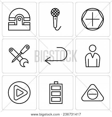 Set Of 9 Simple Editable Icons Such As Subtracting Button, Battery Level, Play Button, Male Avatar,