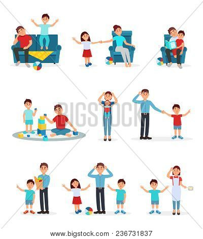 Tired Parents And Their Children Set, Exhausted Parents Playing, Reading And Caring For Their Childr