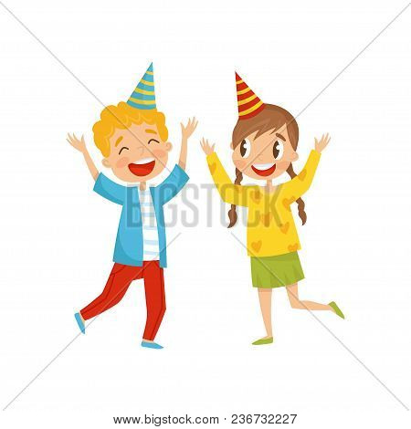 Cute Girl And Boy In Party Hats Having Fun At Birthday Party Cartoon Vector Illustration Isolated On