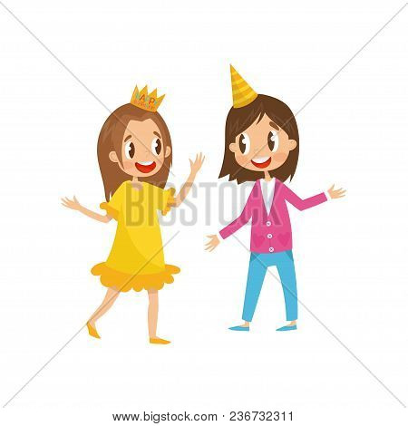 To Cute Girls In Party Hats Having Fun At Birthday Party Cartoon Vector Illustration Isolated On A W