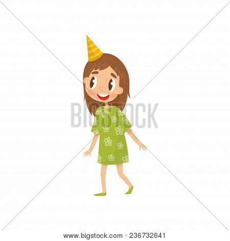 Beautiful Girl In Party Hat, Birthday Party Concept Cartoon Vector Illustration Isolated On A White