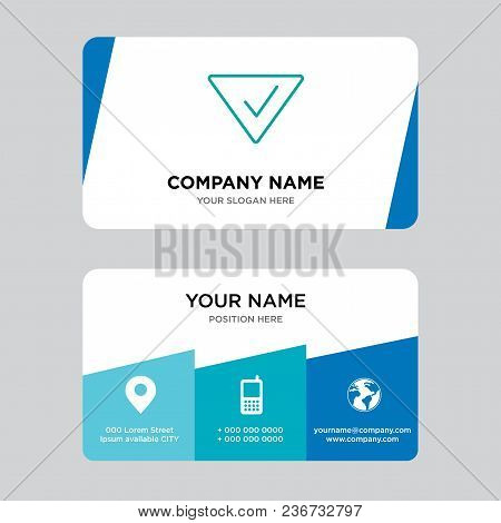 Check Mark Business Card Design Template, Visiting For Your Company, Modern Creative And Clean Ident