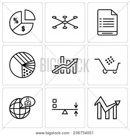Set Of 9 Simple Editable Icons Such As Chart, Sun Flare, Global User, Cart Graphic, Bars Chart, Pie