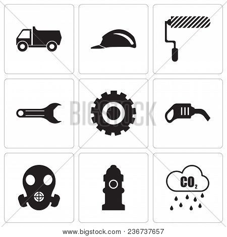 Set Of 9 Simple Editable Icons Such As Co2, Fire Hydrant, Respirator, Pump, Setting, Adjustable Wren