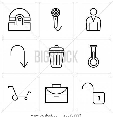 Set Of 9 Simple Editable Icons Such As Unlocked Padlock, Office Briefcase, Shopping Cart, Erlenmeyer