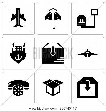 Set Of 9 Simple Editable Icons Such As Delivery Of A Box, Delivery Package Opened, 24 Hours Phone Se