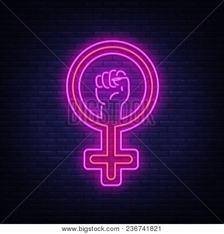 Female Gender Symbol Neon Sign Vector. Feminism Night Light Symbol, Icon. Feminist Protest Symbol In