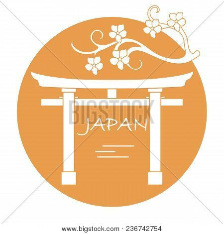 Branch Of Cherry Blossoms And Torii, Ritual Gates. Japan Traditional Design Elements. Travel And Lei