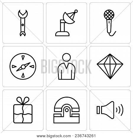 Set Of 9 Simple Editable Icons Such As Mute Speakers, Old Phone, Bookmark, Diamond, Male Avatar, Com