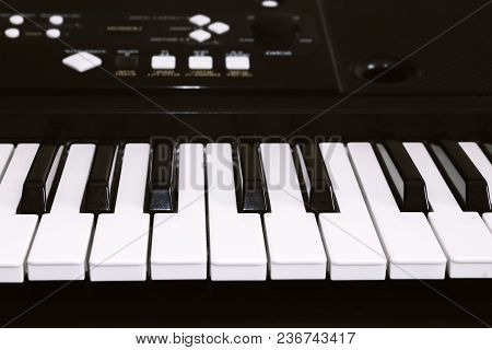 Keyboard Or Piano For Digital Music Recording, A Music Instrument Background, Music Concept. A Photo