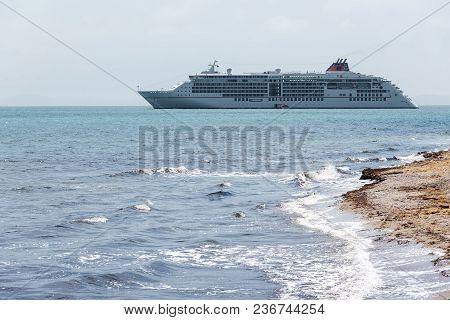 Nessebar, Bulgaria - May 8, 2016: Cruise Ship Drifting Near The Coast On May 8, 2016 In Nessebar, Bu