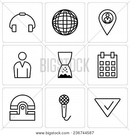 Set Of 9 Simple Editable Icons Such As Check Mark, Voice Recorder, Old Phone, Calendar With Day 5, H