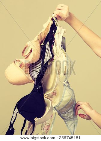 Bosom Concept. Female Holding Many Bras In Hand, Choosing Witch Bra To Wear