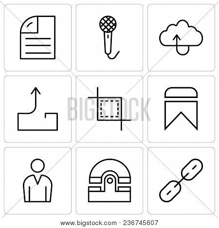 Set Of 9 Simple Editable Icons Such As Chain Links, Old Phone, Male Avatar, Bookmark, Cropping Tool,