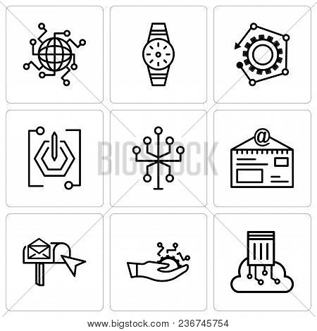 Set Of 9 Simple Editable Icons Such As Cloud Computing, Development, Email Box, Mail With Stamp, Inf