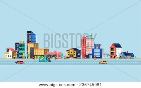 Urban Landscape With Modern Buildings, Offices, Police Department, Restaurant. Vector Illustration