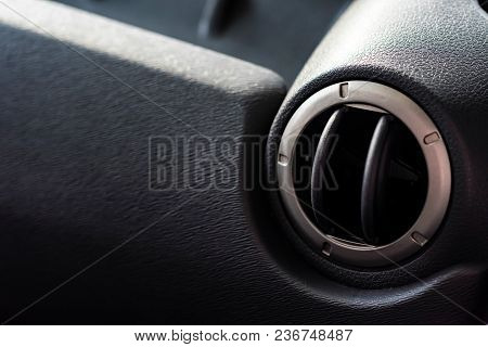 Close Up Air Duct In Modern Car, Part Of Interior