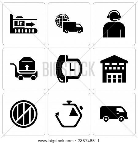 Set Of 9 Simple Editable Icons Such As Black Delivery Small Truck Side View, Chronometer, Wood Packa
