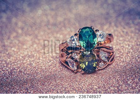 Gold Ring With Green Stone Retro