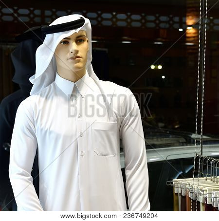 Male Mannequin In A Traditional Arabic Clothing, United Arab Emirates.