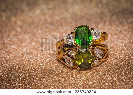 Gold Ring With Green Stone