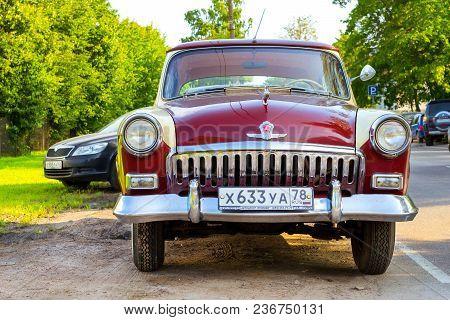 Soviet Retro Red Car Volga Gaz-21 Gorky, Russia