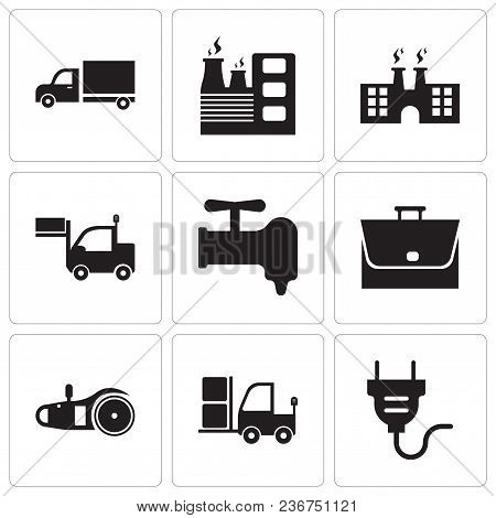 Set Of 9 Simple Editable Icons Such As Electrical Plug, Truck, Electric Saw, Bag, Crane, Lorry, Fact