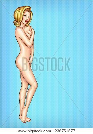 Vector Pop Art Nude Blonde Girl Covers Her Breast With Palm. Sexy Young Female Character For Summer