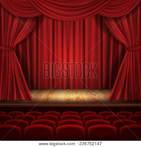 Theater Vector Concept, Realistic Luxurious Red Velvet Curtains With Theatre Scarlet Seats, Classic