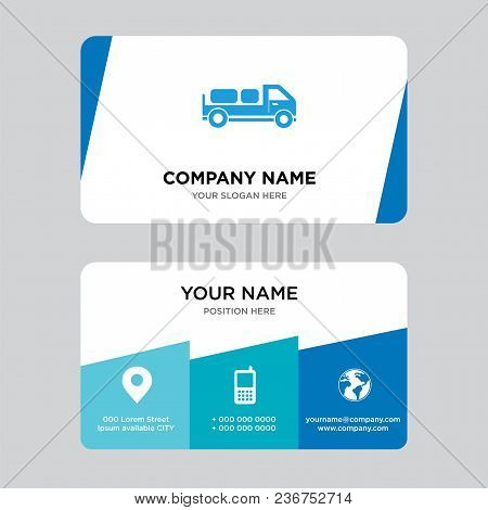 Delivery Truck With Packages Behind Business Card Design Template, Visiting For Your Company, Modern