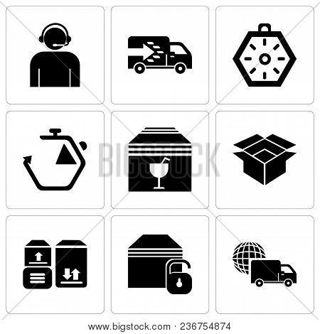 Set Of 9 Simple Editable Icons Such As International Logistics Delivery Truck, Locked Package, Packa