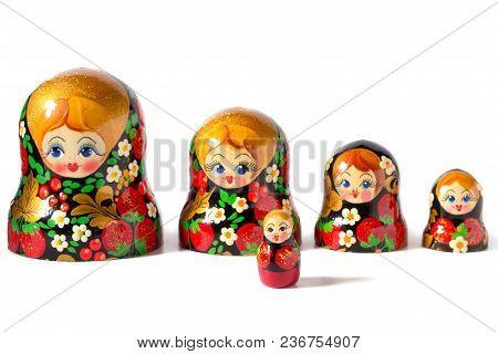 Russian Folk Toy. Matryoshka Doll On White Background.
