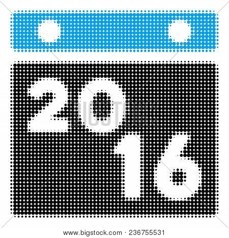 2016 Calendar Halftone Vector Pictogram. Illustration Style Is Dotted Iconic 2016 Calendar Icon Symb