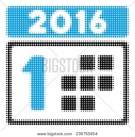 2016 Day Halftone Vector Pictogram. Illustration Style Is Dotted Iconic 2016 Day Icon Symbol On A Wh