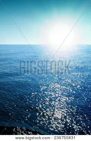 Summer Landscape With Sea And Mountains Silhouettes And Sunrise.
