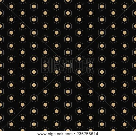 Golden Vector Seamless Pattern. Simple Dark Geometric Texture With Small Linear Hexagons. Black And