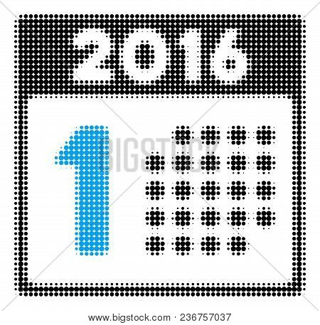 First 2016 Day Halftone Vector Icon. Illustration Style Is Dotted Iconic First 2016 Day Icon Symbol