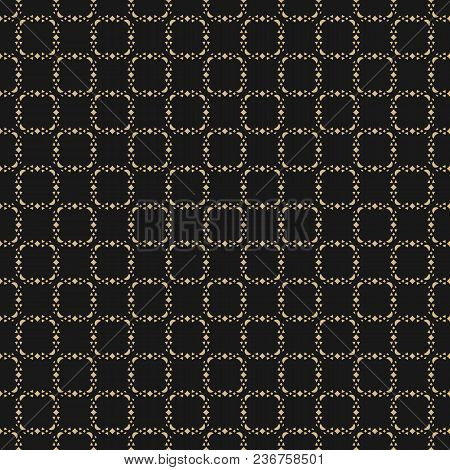 Abstract Golden Geometric Seamless Pattern. Luxury Vector Background. Delicate Grid Ornament. Subtle