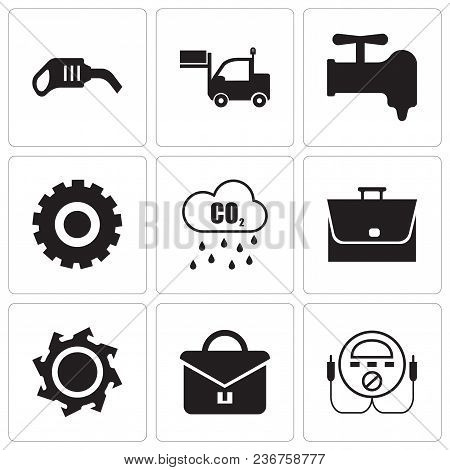 Set Of 9 Simple Editable Icons Such As Energy Check, Portfolio, Saw Blade, Bag, Co2, Setting, Crane,