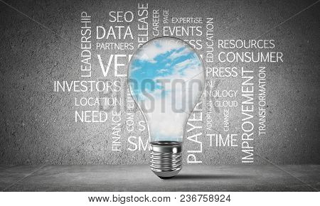 Glass Lightbulb With Skyscape Inside With Business Related Terms On Dark Grey Wall On Background. 3d