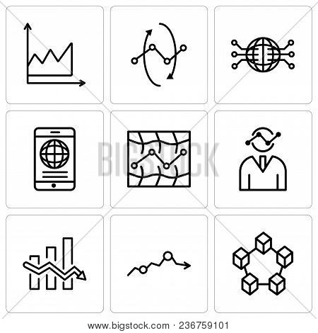Set Of 9 Simple Editable Icons Such As Data Interconnected, Missing Data On Analytics, Data Analytic